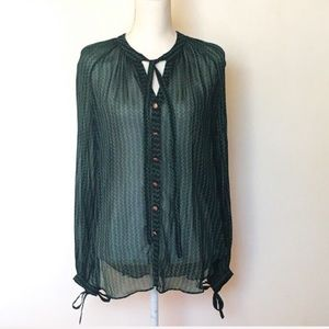 Anthropologie Maeve Chevron Green Sheer Blouse